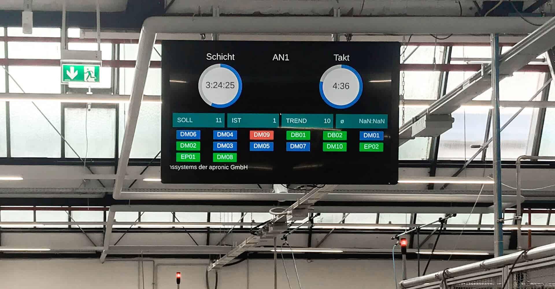 Andon-Board von apronic zur Visualisierung von Kennzahlen in der Produktion.